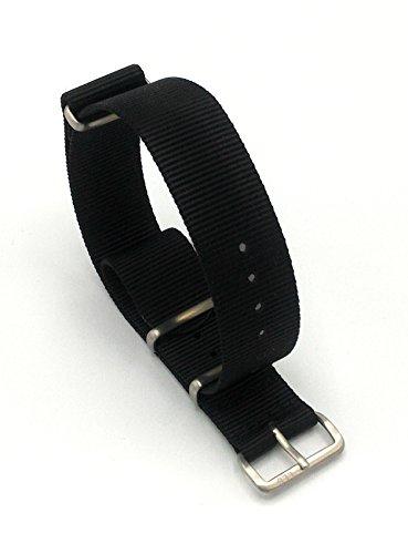 Luxury Line Strap Cinturino nato balistico G10 militare in nylon nero (Satinato, 20 (Fibbia Combo)