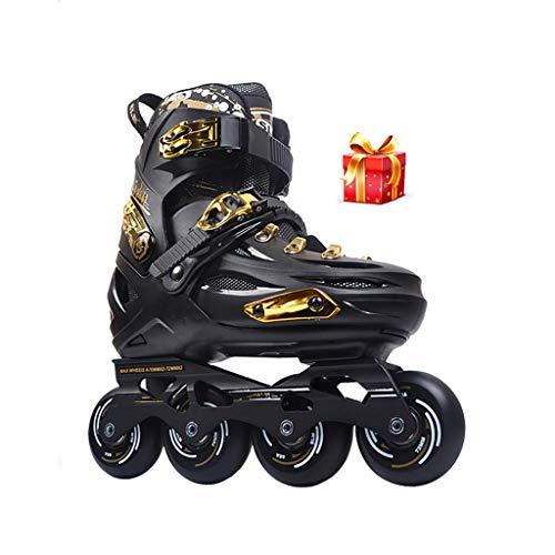 W-zplhx Inliner Freizeit Größe Verstellbar Erwachsene Inliner Anfänger Rollerblades Jugend Verschleißfest Damen komfortable Inline-Skates (Color : Black, Size : EU(40-44))
