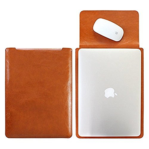Mikrofaser Leder Laptop Sleeve Slim Case Cover Luxus PU Ledertasche Elagant Schutzhülle integriert Mousepad f. (13,3