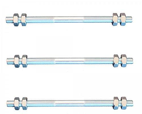 Preisvergleich Produktbild 3 Stück Gewindestange M6 Rechts - Links Gewinde 160 mm + 12 Muttern