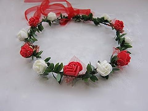 Fleur artificielle Couronne Coiffe Band Cheveux Hoop Bandeau mariée Princesse anniversaire Décoration de mariage, rouge/blanc, 18cm/7in