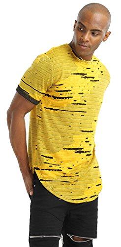 Pizoff Unisex Hip Hop Design langes T Shirts im Distressed-Look Y1727-02
