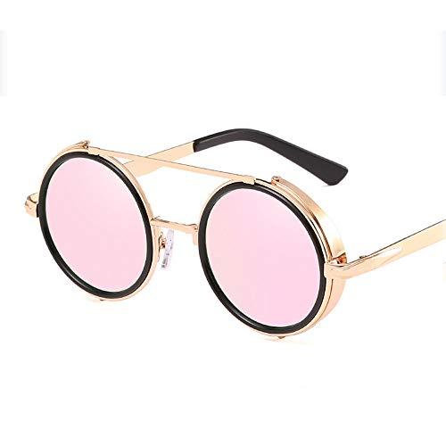 CHUSHENG Unisex Retro Brille Runde Metallrahmen klare Linse Sonnenbrille Vintage Geek Brille,4