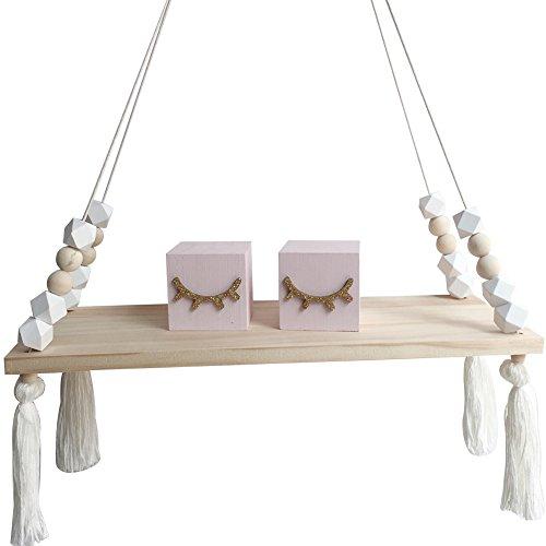 tianfuheng Nordic Display Wand Hängeregal Swing Seil Wandboards Home Decor, holz, weiß, Einheitsgröße