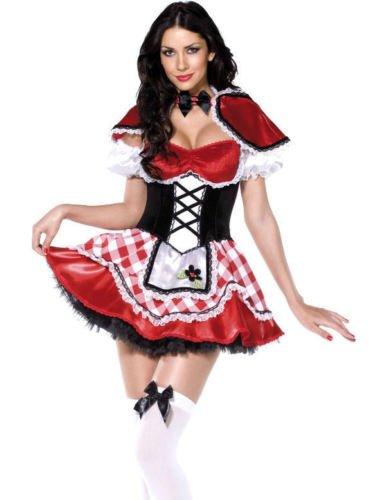 Bier Aus Kostüm Maid (Damen Qualität 4 Stück Oktoberfest Bier-Maid Rotkäppchen Kostüm Größe)