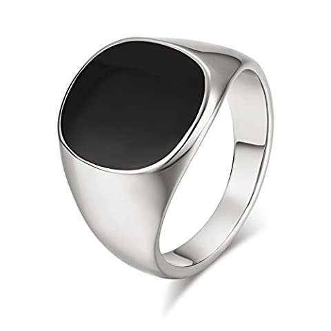 Yoursfs 18ct White Gold Plated Cool Signet Pinky Rings for Men Sovereign Black Onyx Biker Ring Fashion Jewellery Father's Gift