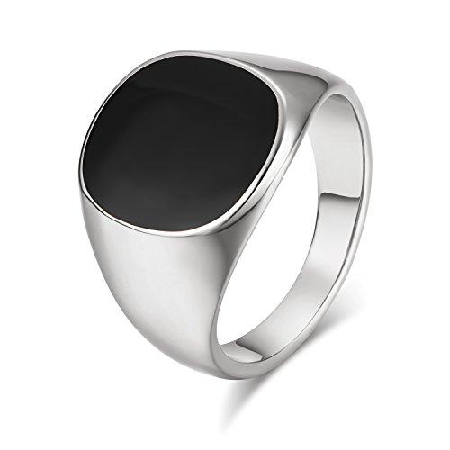 Yoursfs 18ct Ringe Weißgold vergoldet Cool Signet Pinky für Männer souverän schwarz Onyx Biker Ring Mode Schmuck Vaters Geschenk