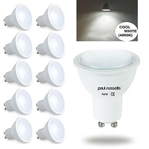 GU10Ampoule LED 10x Paul Russels spot ampoules Blanc froid 4000K, 4W équivalent 40W Ampoule Incandescente/halogène, 100° Angle de faisceau SMD Spot ampoules [Lot de 10]