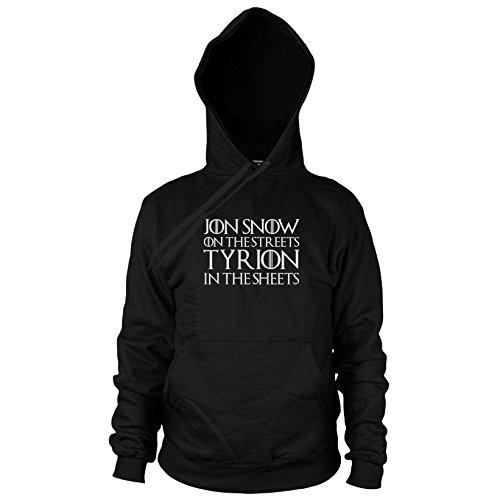 (GoT: Jon Snow on the Streets. Tyrion in the Sheets - Herren Hooded Sweater, Größe: XL, Farbe: schwarz)