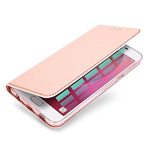 Coque iPhone SE 2017 ,KuGi iPhone SE 2017 Flip Coque Premium PU Housse [Protection Complète] Couverture Multicolor avec support design pour iPhone SE 2017 (Or) Or rose