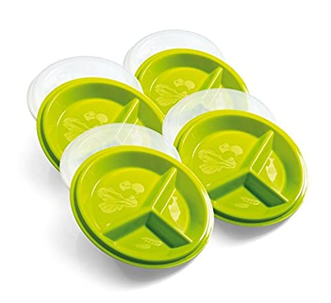 """Best Quality BPA-FREE Go Healthy Nutrition & Portion Control Travel Pack From Precise Portions-Set Of 4-9"""" Covered To-Go Plate-9""""Lid-Eat & Learn Nutrition Discs-USDA Nutritional Guidelines Design-3 Divisions To A Perfect Size Meal Without Thinking- Out Or At Home-Kit Of 4 Travel Plates With Lids-The Best Tool For Weight Loss And Enhanced Living-Improve Your Lifestyle And Become Who You Want To Be Now!"""