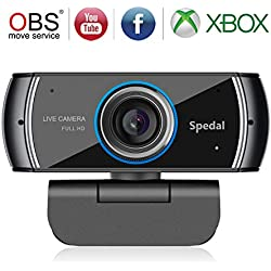 Spedal Full HD Webcam 1080p, Live Streaming Caméra avec Microphone USB, Caméra Web pour Skype Facebook OBS Xbox XSplit, Compatible pour Mac OS Windows 10/8/7