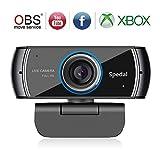 Spedal Full HD Webcam 1080p, Live Streaming Caméra avec Microphone USB, Caméra Web pour Skype Facebook OBS Xbox XSplit, Compatible pour Mac OS Windows 10/8/7
