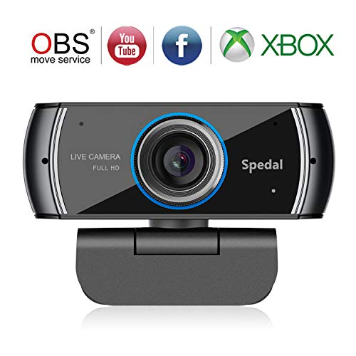 Spedal Full HD Webcam 1080p, Streaming Cámara Web con Micrófono, USB Webcam para Xbox OBS XSplit Skype Facebook, Compatible con Mac OS Windows 10/8/7