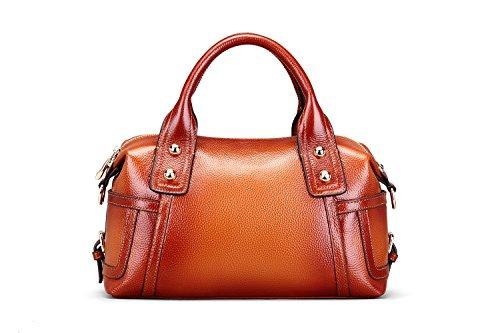 Hermiona Women Genuine Leather Shoulder Bag Top-handle Tote Bag Red brown