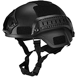 eamqrkt Casque Tactique Militaire Airsoft Gear Paintball Head Protector avec Vision Nocturne Sport Camera Mount, Noir