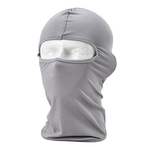 Unisexe Cagoule Balaclava - Équipement de Sport/Coupe-vent/Anti-poussière Cagoule/Réglable équitation Masque,Gris clair