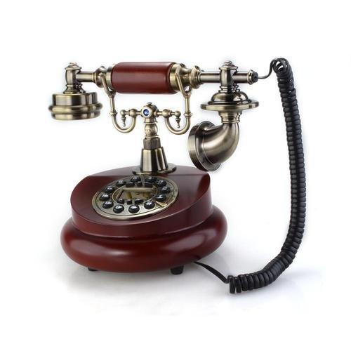 Caiyuangg® Retro Design Telefon,Klassisch Messing Stil Vintage Analog Telefon Nostalgie Telefon Innendekoration