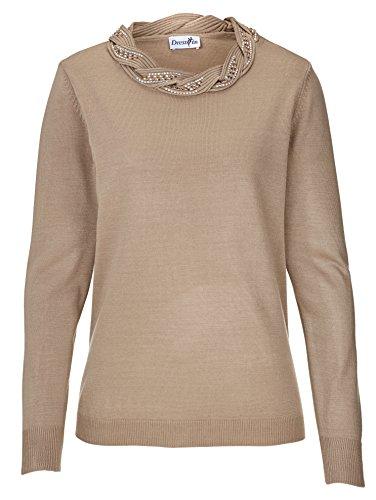 KLiNGEL Dress In Damen Pullover mit Flechtmuster und Steinchen - Pullover Mit Flechtmuster