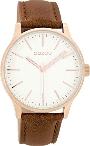 Oozoo Damenuhr mit Lederband 40 MM Rose/Weiss/Braun C8543