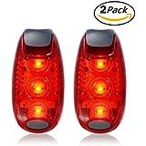 Xcellent Global Juegos de 2 Luces de Seguridad LED para Trasera de Bicicleta Advertencia Alta Visibilidad Nocturna para Corredores, Ciclistas, Caminantes, Marchadores, Niños, Perros, Actividades al Aire Libre Rojo+Rojo LD097R
