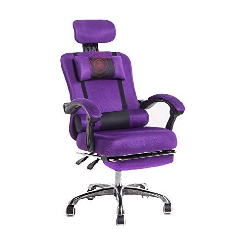 YWAWJ Rückenmassage Gaming Stuhl mit Fußstütze, PC Computer Videospiel Racing Gamer Stuhl Hohe Rückenlehne Reclining Executive Ergonomic Office Desk Stuhl mit Kopfstütze Lordosenstütze Kissen (Executive Stuhl Kissen)