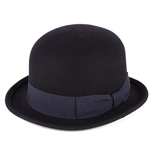 Herren Damen Unisex Jahrgang Charlie Chaplin 100% Wolle Filz Bowler/Melonen Hüte/Kappe/Mütze - Navy blau