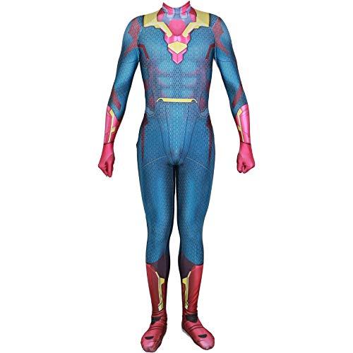 QWEASZER Vision Spandex Jumpsuit Marvel Avengers Kostüm Mantel Kostüm Zentai Onesie Kleidung Halloween Cosplay Party Bodysuit Film - Vision Marvel Kostüm
