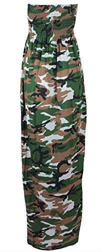 Neue Frauen Plus Size Printed Boob Stretch Sheering Maxikleider 36-50 Camouflage