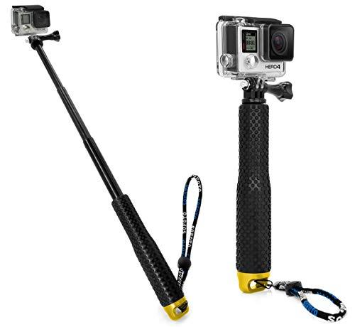 MyGadget Action Kamera Teleskopstange Selfie Stick (wasserdicht) - Zubehör Stange mit Handgriff Rutschfest für GoPro Hero 6 5 4 3+ 3, Xiaomi Yi - Gold