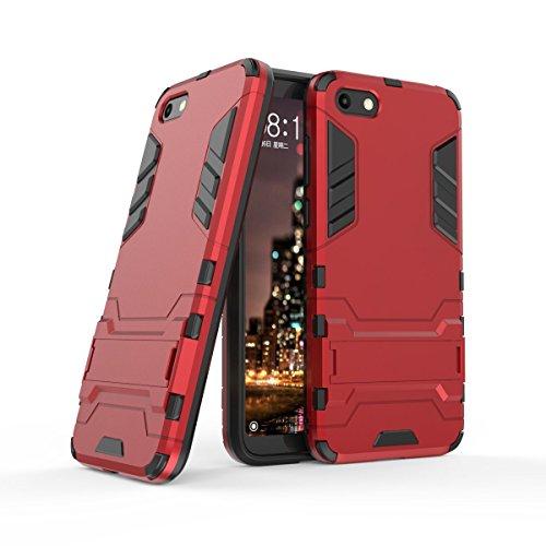 HDRUN Huawei Y5 2018 / Y5 Prime 2018 / Honor 7S Hülle, 2 In1 Kratzfeste Handyhülle Hybrid TPU Silikon Bumper Schale PC Doppelschichter Schutzhülle Standfunktion für Huawei Y5 2018 Case Cover, Rot