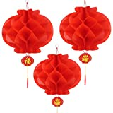 Bememo 20 Pezzi Capodanno Cinese Lanterne di Carta Rosso Crittografia Addensata Decorazioni di Lanterna Cinese Appendere (14 Pollici)