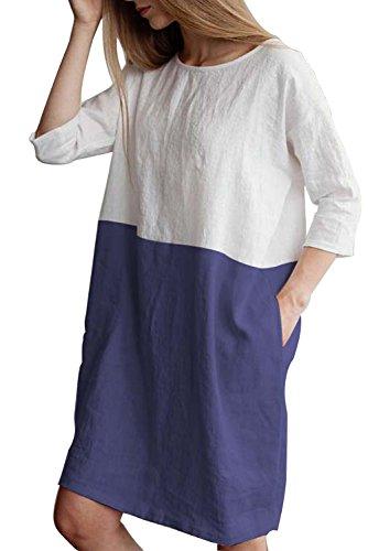 MAGIMODAC Leinenkleid Damen Tunika T Shirt Kleid Baumwolle Freizeitkleid Strandkleid Minikleid Shirtkleid Longshirt Oversize 36 38 40 42 44...
