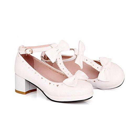 AgooLar Damen Weiches Material Rund Zehe Mittler Absatz Schnalle Rein Pumps Schuhe Weiß