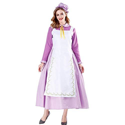 Dienstmädchen Viktorianisches Kostüm - HJG Dienstmädchen Kostüm viktorianischen Kostüm Frauen, Vintage Kostüm Uniform, Langarm Kleid mit weißer Schürze und Kopfbedeckungen,M