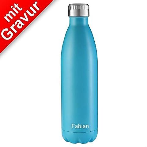 FLSK Isolierflasche 750ml Carribean blau mit Gravur ** Trinkflasche hält 18 Stunden heiß und 24 Stunden kalt, 100% Dicht, Kohlensäurefest ** inkl. kostenloser (Weihnachten Nachrichten Für Den Chef)