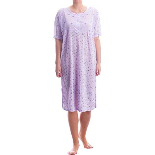 Romesa chemise de nuit-broderies haut de gamme avec motif imprimé allover Violet - Lilas