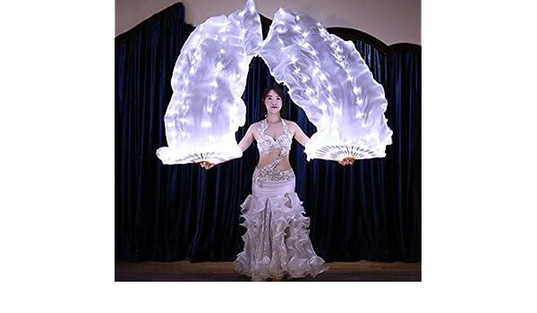 Femmes Real Silk Belly Dance Fan Veil 100/% Soie Soies de Fans Stage Performance Props Rainbow Blanc LED Fan Veil ZYLL 1 Paire Rechargeable Gauche + Droite