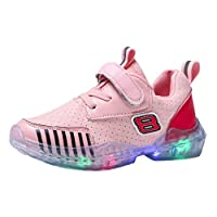 Sceoyche Kids LED Light Shoes, Boys Girls Luminous Breathable Sport Shoes Ultralight Outdoor Shoes Walking Shoes with Velcro Non-slip Indoor Sneakers Running Shoes
