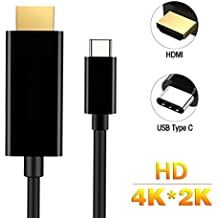 Philonext USB C to HDMI Cable(5.9ft/1.8m), USB 3.1(Thunderbolt 3 Compatible) Type c Male to HDMI Male 4K Cable for 2016 MacBook Pro, ChromeBook Pixel, 2015 MacBook, Huawei MateBook & More