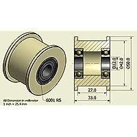 Pack de 4 x Nylon Cinturón Idler 50 mm diámetro 27 mm Groove 12 mm Rodamiento Precisamente mecanizado en la UE (50-27-12)