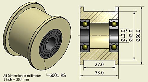 4Stück x Nylon Gürtel Faulenzer 50mm Durchmesser 27mm Groove Lager 12mm präzise gefräßt in der EU (50–27–12)