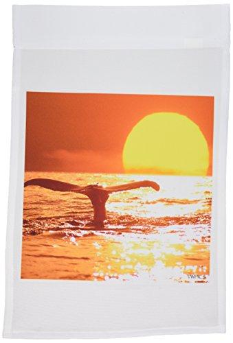3drose FL _ 46393_ 1der Sonnenuntergang wurde Digital haben zu diesem Bild von einem Buckelwal Megaptera novaeangliae/Hawaii Garten Flagge, 12von 18 (Hawaii-shirt Sonnenuntergang)