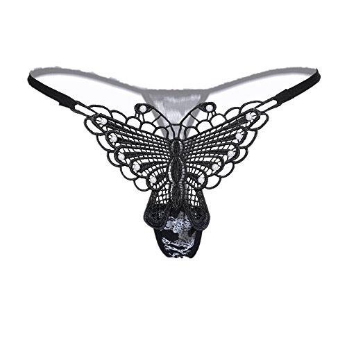 SUCES G-String Hohle Bowknot Womens Lace Sexy Tanga Schlüpfer Dessous Damen Unterwäsche Body Nachtwäsche Versuchung Nightgown Nighty Spitze G-String Thongs V-String Höschen (Silver)
