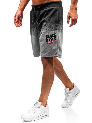 BOLF Herren Kurze Hose Shorts Aufdruck Print Motiv Street Style Täglicher Stil Nature 5753 Grau M [7G7]