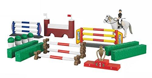 Bruder 62530 - Großer Pferde-Springparcours mit Reiterin und Pferd (Spring Reiten Pferd)