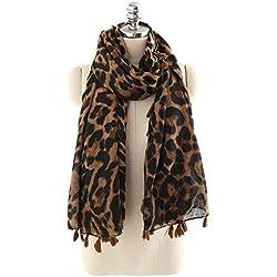 Doballa Mujeres Estampado de leopardo bufandas manta abrigo chal con borlas