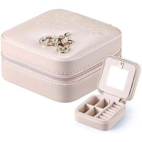 ledyoung portagioie da viaggio per le donne Piccolo portatile portagioie con specchio, Bare Pink,