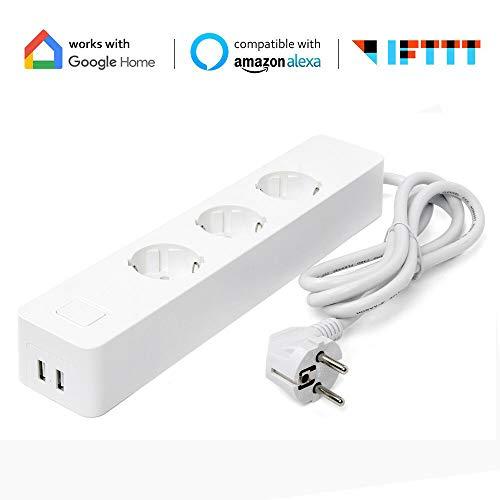 Smart Steckdosenleiste, Alexa Wlan Steckdosenleiste mit 3 AC-Ausgänge und 2 USB Ports, Überspannungsschutz Mehrfachsteckdose, Kompatibel mit Alexa, Google Home und IFTTT, APP Fernbedienung (1)