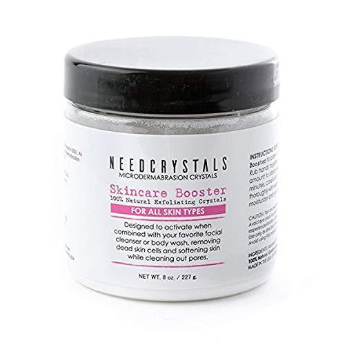 Cristales de microdermabrasión NeedCrystals, exfoliante facial. Exfoliante facial natural para pieles apagadas o secas mejora cicatrices de acné, espinillas negras, tamaño de poro, arrugas, manchas y textura de la piel. 227 Gramos